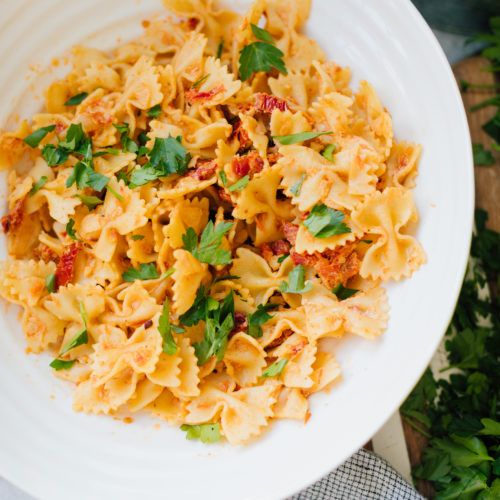 Blogger Eva Amurri shares her recipe for Sun-Dried Tomato and Goat Cheese Pantry Sauce