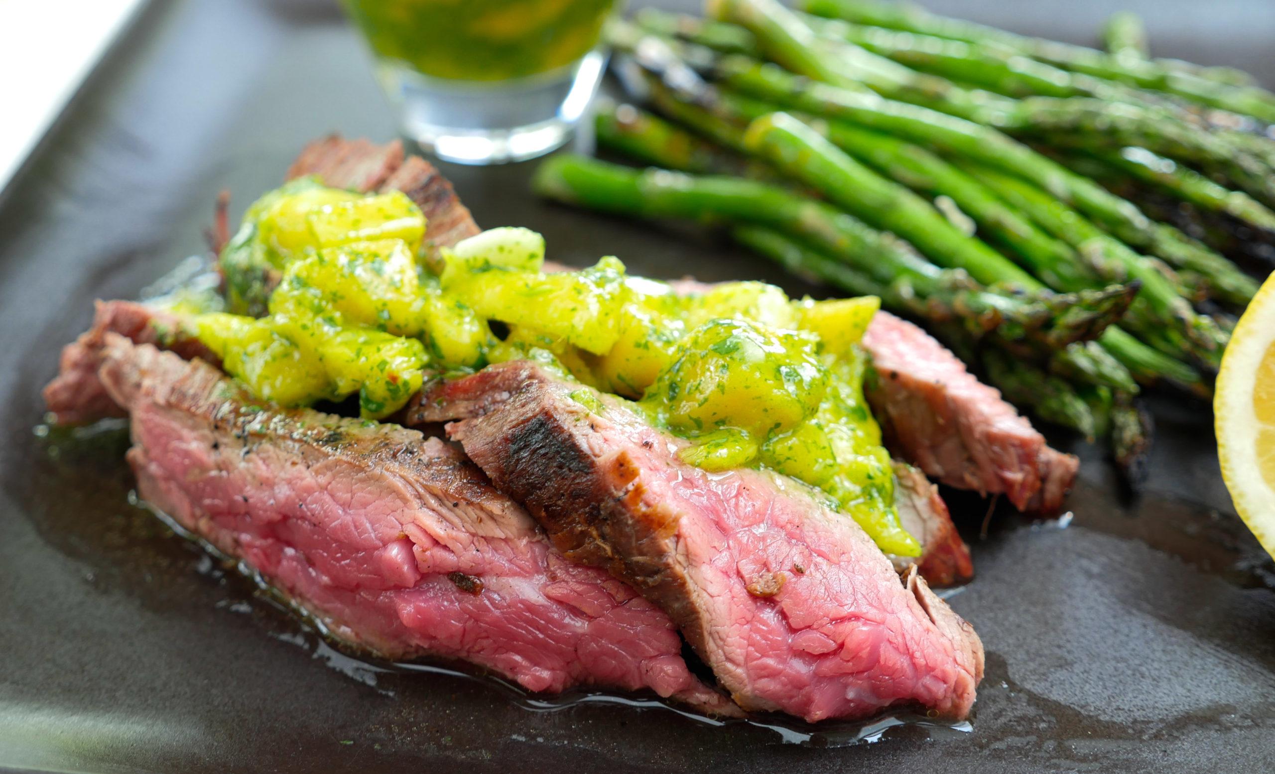 Eva Amurri shares her recipe for Grilled Skirt Steak with Mango Chimichurri
