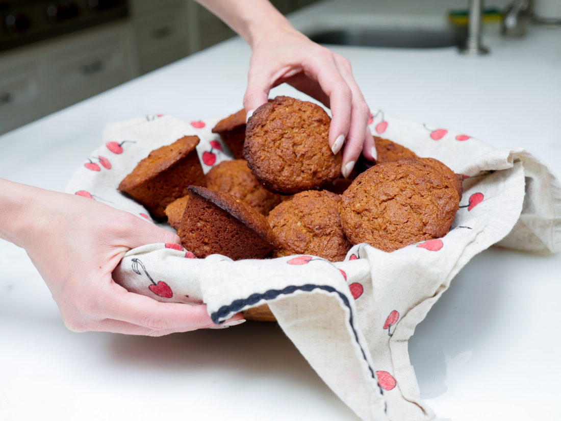 Eva Amurri Martino of lifestyle blog Happily Eva After, shows off her Groaning Cake muffins which are traditionally made while a woman is in labor