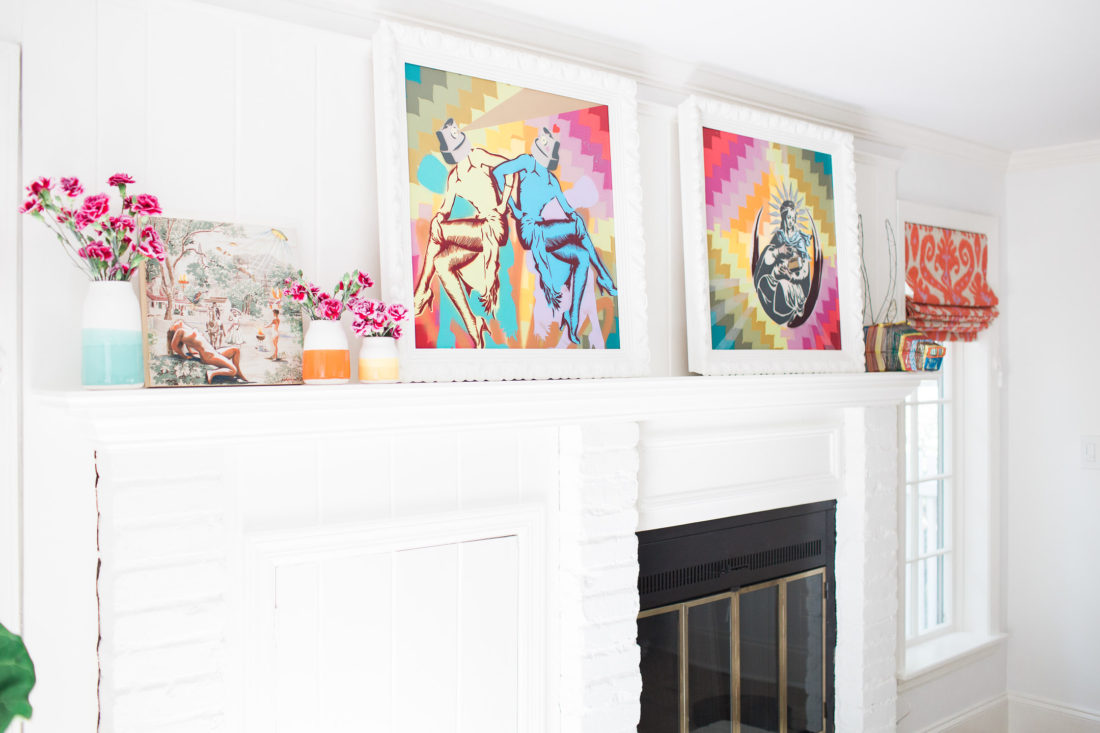 The mantlepiece of eva amurri martino's family room in connecticut, featuring art by Casey Grey and Edith Vonnegut