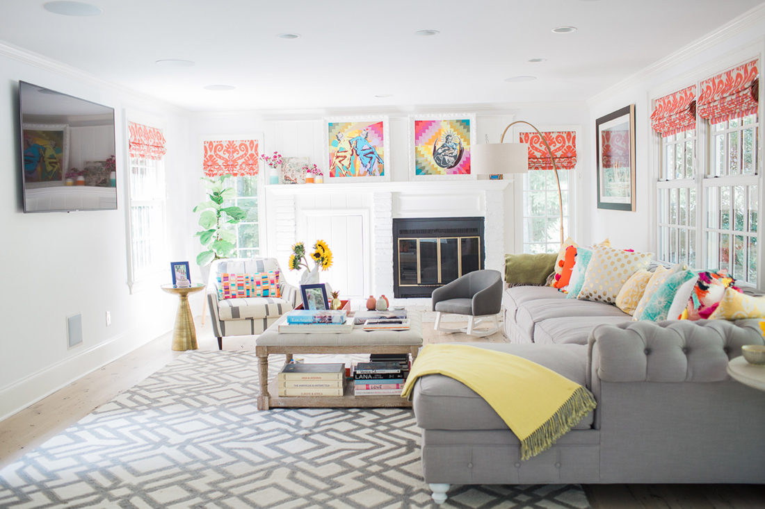 Eva Amurri Martino of blog Happily Eva After's colorful and pattern-filled Family Room in her new connecticut home