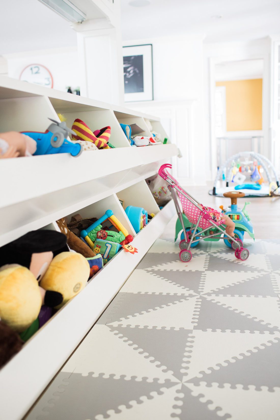 Close up of the custom storage bins in the playroom area of Eva Amurri Martino's family home in Connecticut