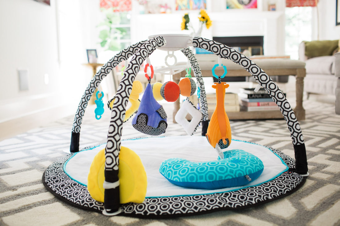 The new Jonathan Adler crafter by Fisher Price collection sensory gym as pictured in Eva Amurri Martino's colorful family room in connecticut