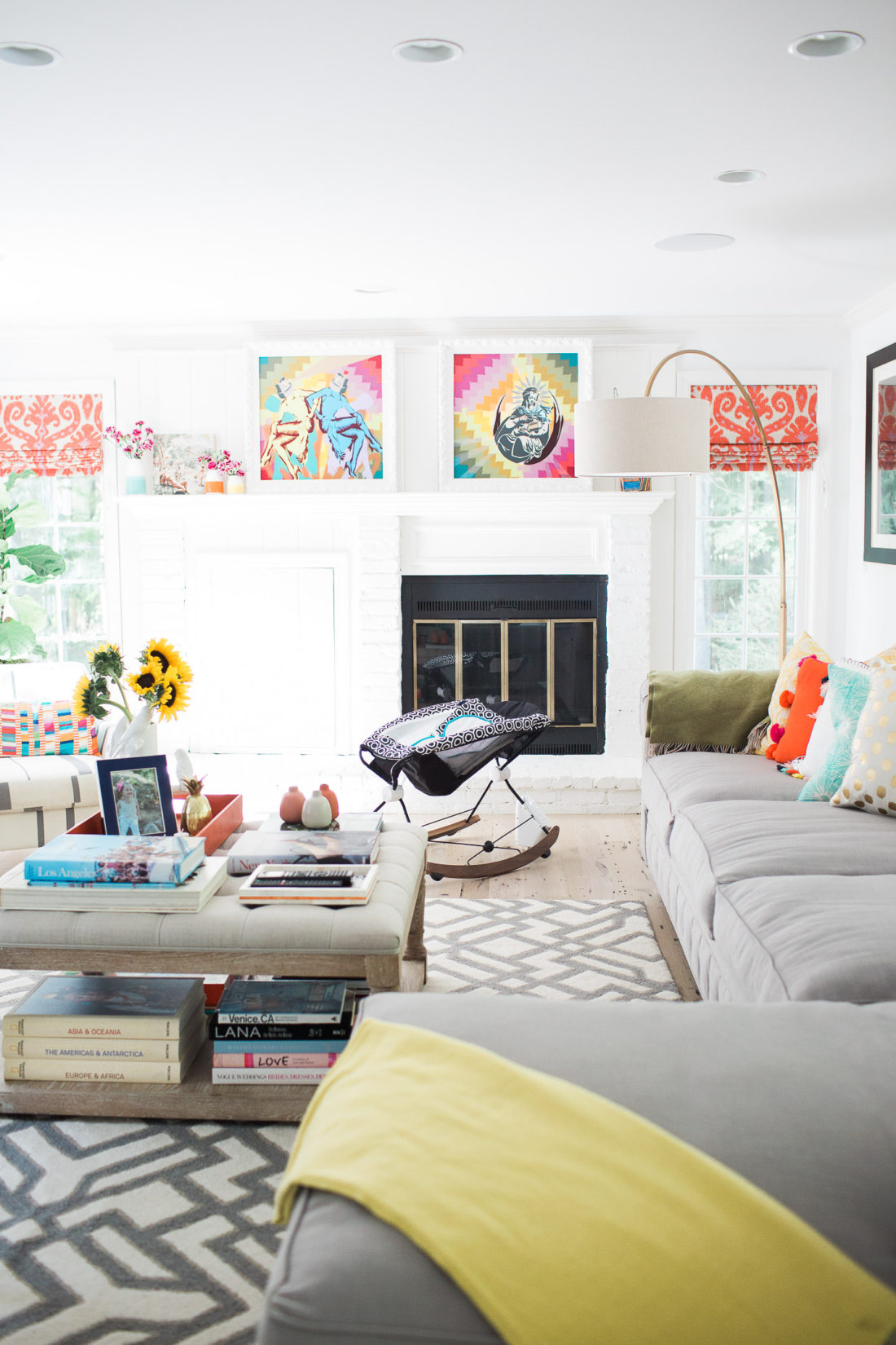 The jonathan adler crafter by fisher price collection deluxe rock n' play sleeper as pictured in the chic and colorful family room of blogger Eva Amurri Martino