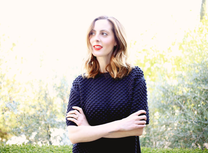 Eva Amurri Martino of the Happily Eva After blog wearing a navy blue tory burch sweater and red lipstick