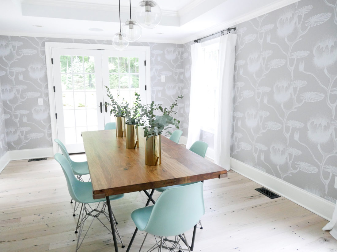 Eva Amurri martino's newly redesigned dining room in her connecticut home, featuring a light and bright california vibe with industrial accents