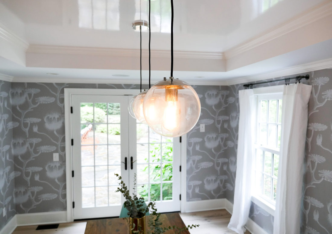 A close up of the lighting in the bright and airy dining room of Happily Eva After's Eva Amurri Martino