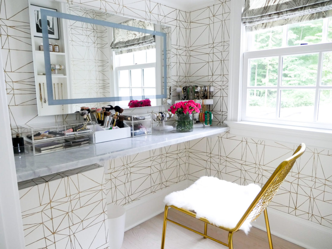 Eva Amurri Martino's Glam room in her new connecticut home, featuring a metallic ultra feminine theme