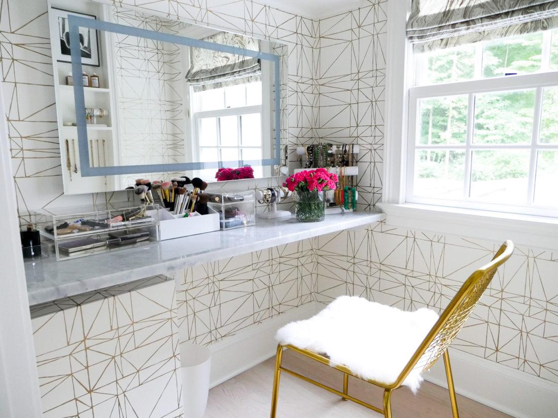 Eva Amurri Martino's Glam room in her new connecticut home, featuring a metallic ultra feminine theme