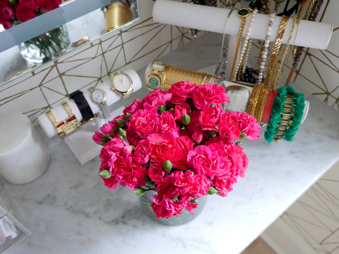 Close up of the jewelry display in Eva Amurri Martino's glam room in her connecticut home