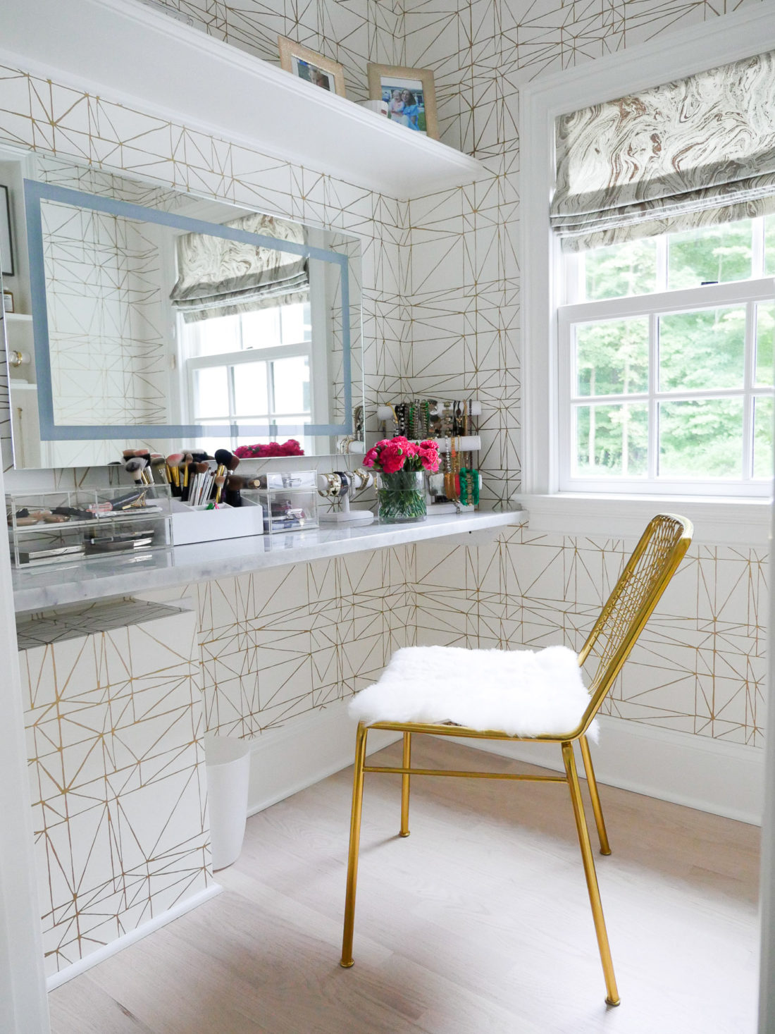 Eva Amurri Martino's ultra-feminine glam room featuring a gold motif