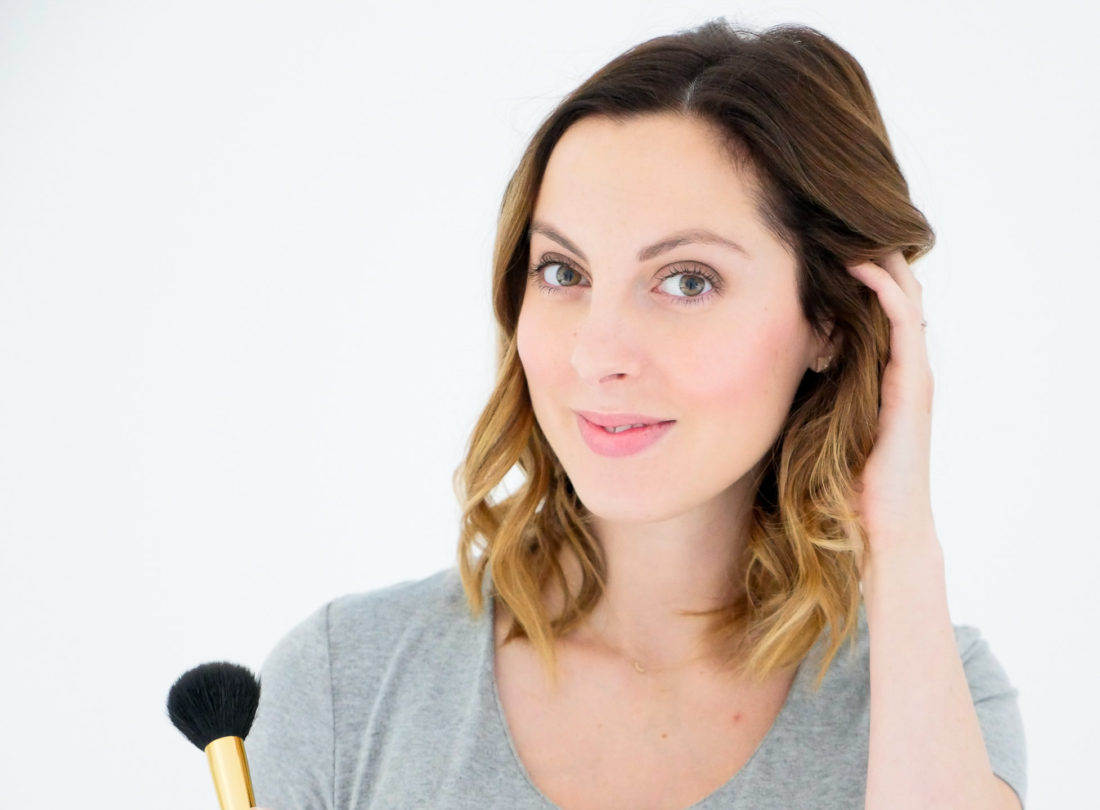Eva Amurri Martino of lifestyle blog Happily Eva After wearing simple and glowing makeup as part of her monthly beauty picks selection