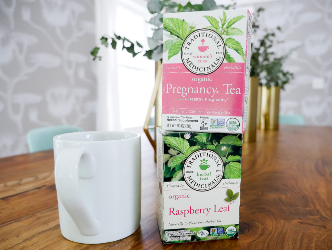 Eva Amurri Martino of lifestyle blog Happily Eva After, shows off her use of traditional medicinals teas during pregnancy in her dining room