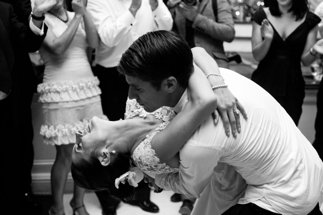 Eva Amurri Martino and Kyle Martino pictured in a dip on the dance floor on their wedding day in Charleston, SC