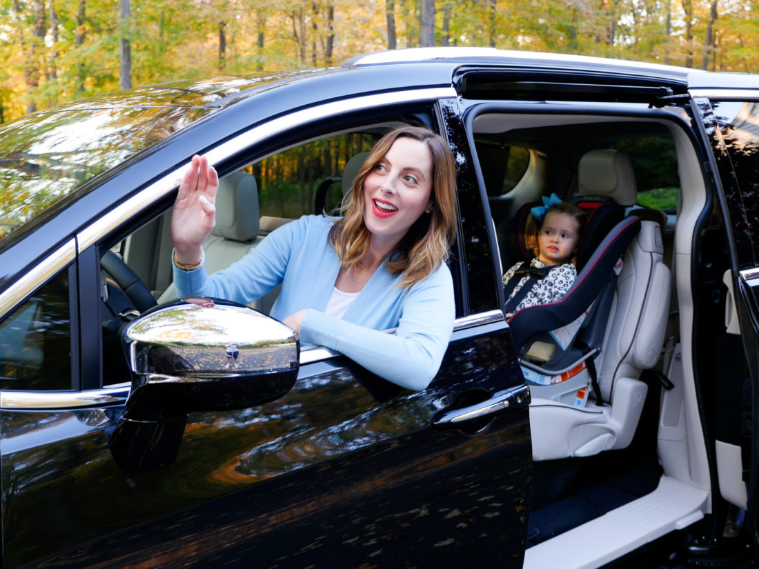 Eva Amurri Martino drives her black Chrysler Pacifica with daughter Marlowe in the car