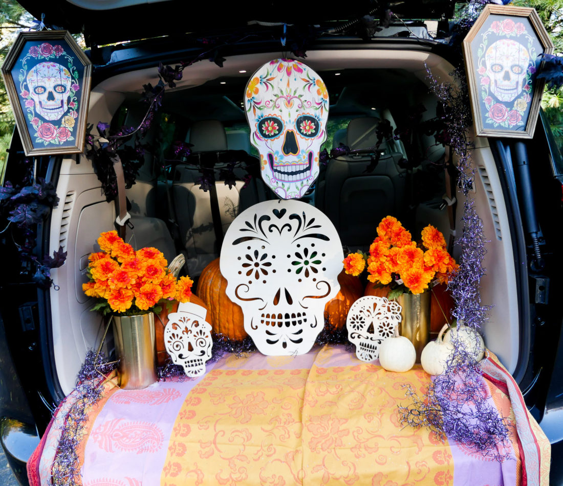 Eva Amurri Martino's decorated trunk for the Trunk-or-Treat party at her daughter's school featuring a Day Of The Dead theme