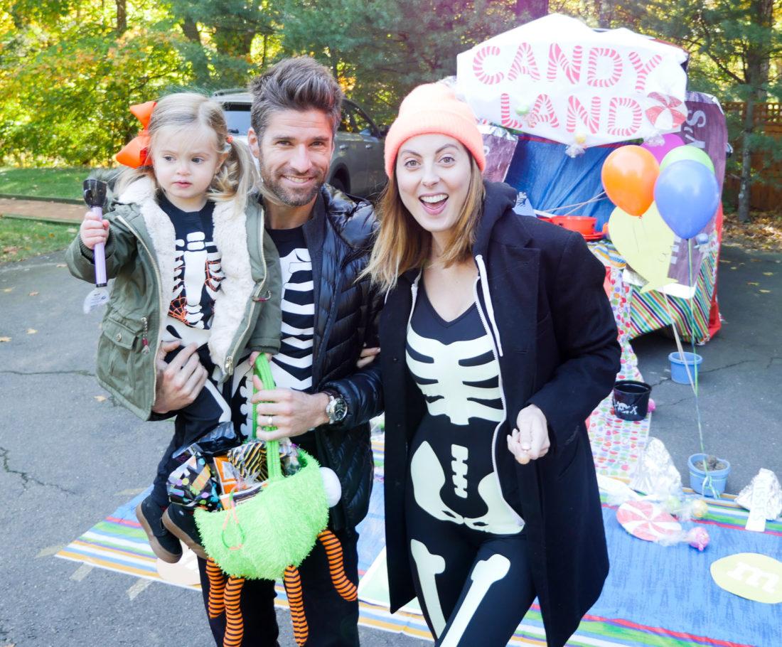 Eva Amurri Martino, Kyle Martino, and Marlowe Martino dressed as skeletons on Halloween