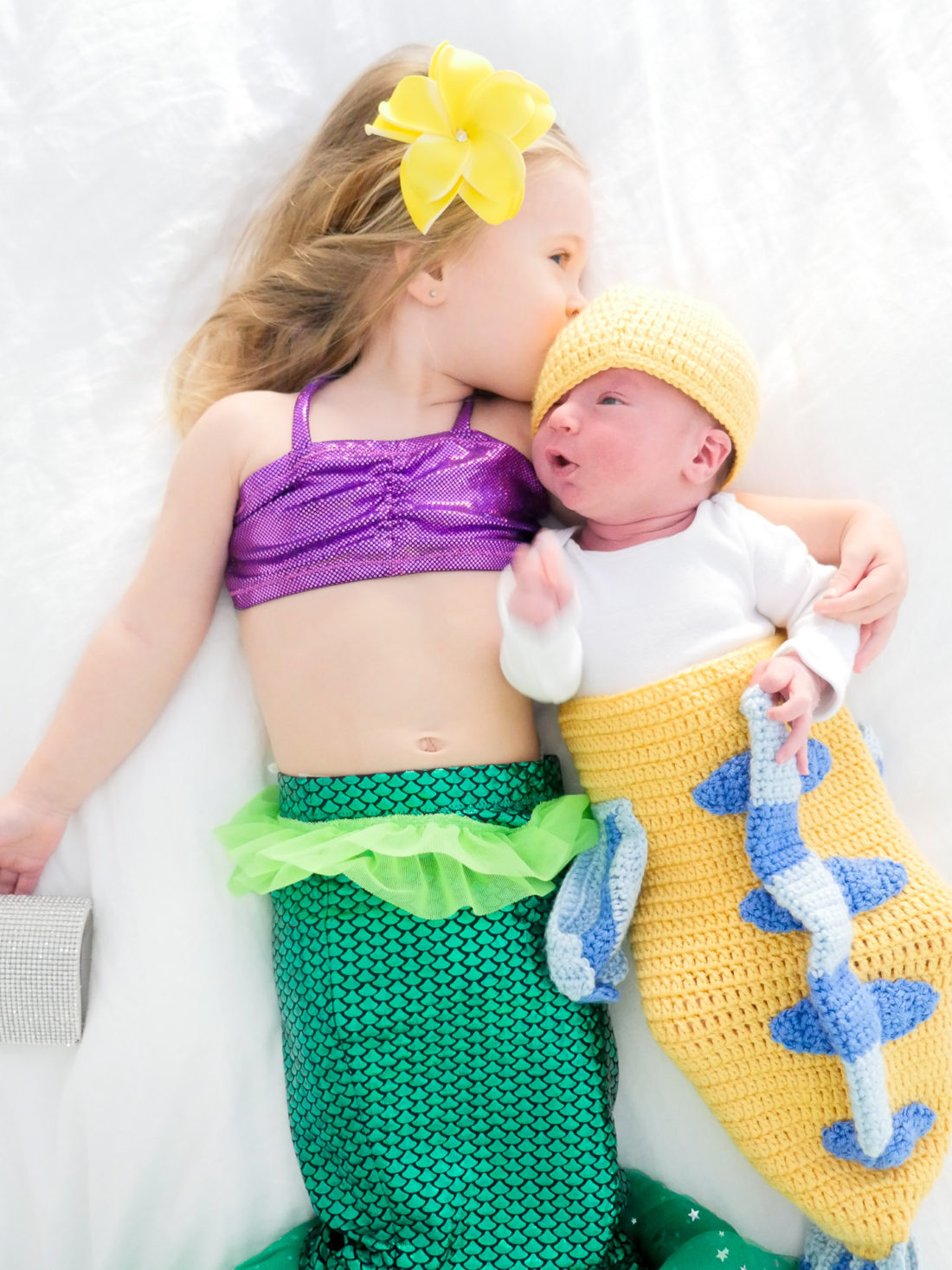 Marlowe Martino and Major Martino dressed as Ariel and Flounder from the Little Mermaid for Halloween