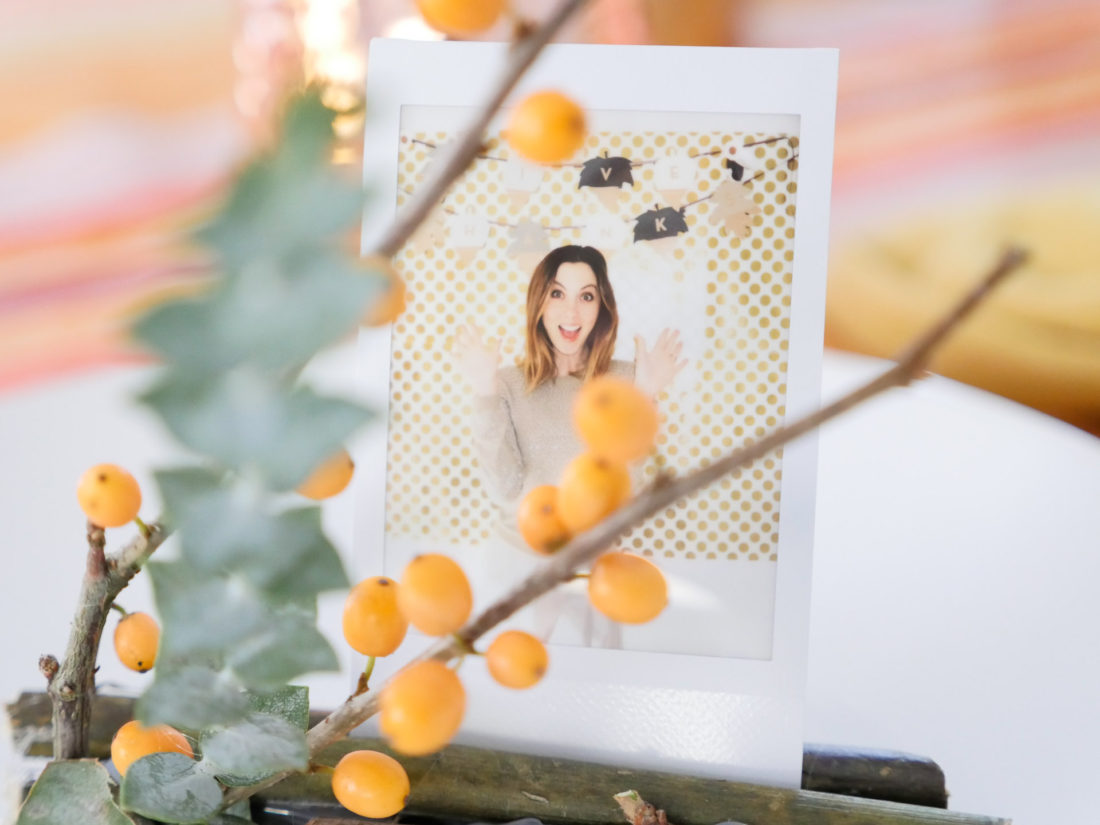 Eva Amurri Martino's fresh and festive Holiday Photo Frame Place card settings using the Instax mini 70