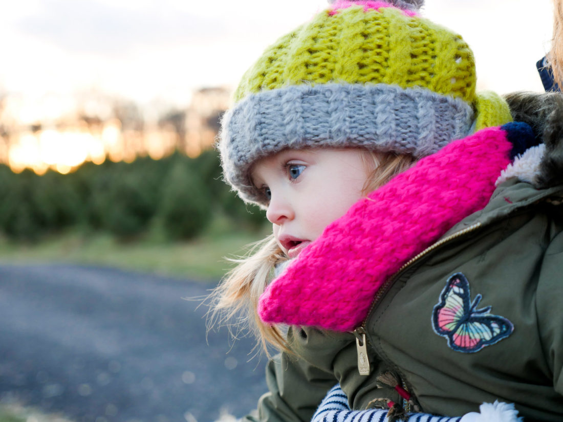 Marlowe Martino is bundled up at the Christmas Tree farm in Connecticut