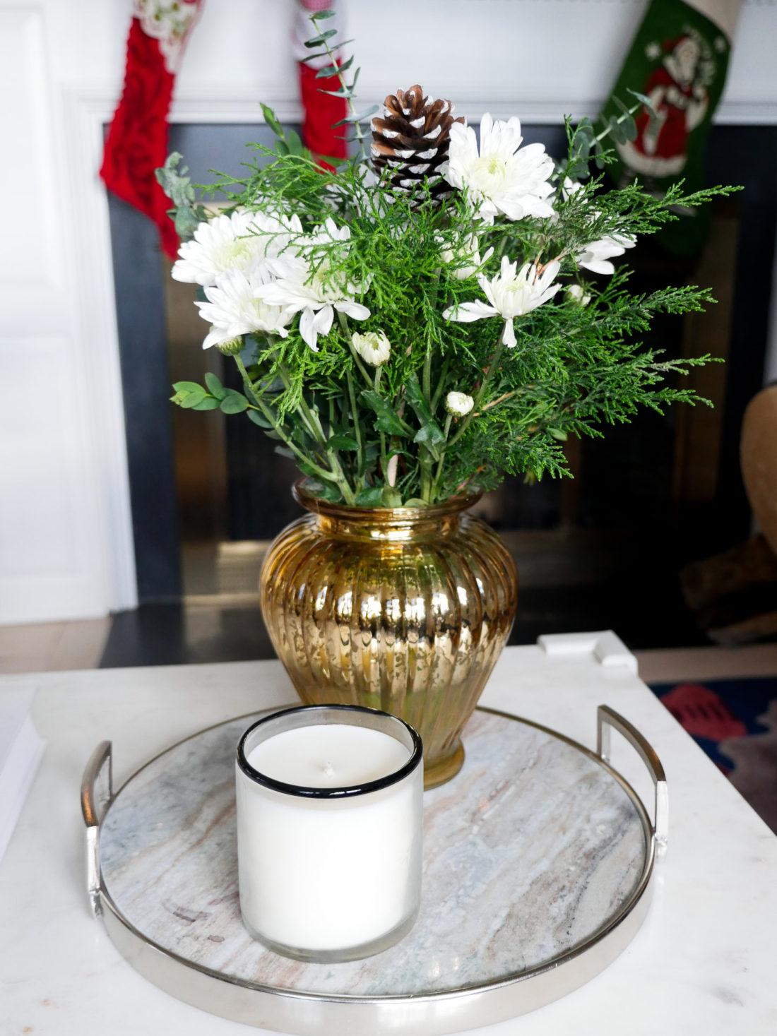 a festive flower arrangement in the living room