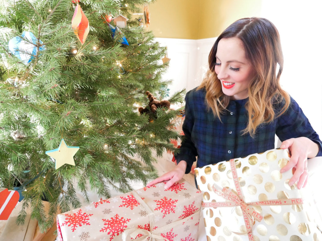Eva Amurri Martino wraps a selection of gifts from Bed Bath & Beyond to complete her holiday shopping