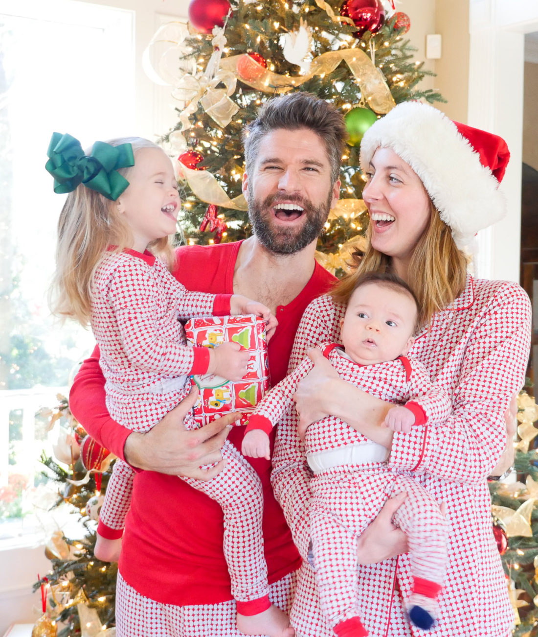 Eva Amurri Martino and her family celebrate the Christmas Holiday in matching pajamas