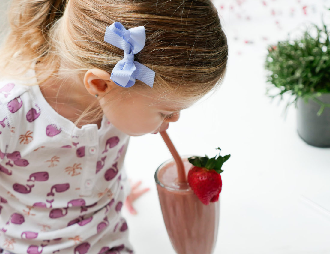 Marlowe Martino drinks from her chocolate covered strawberry smoothie