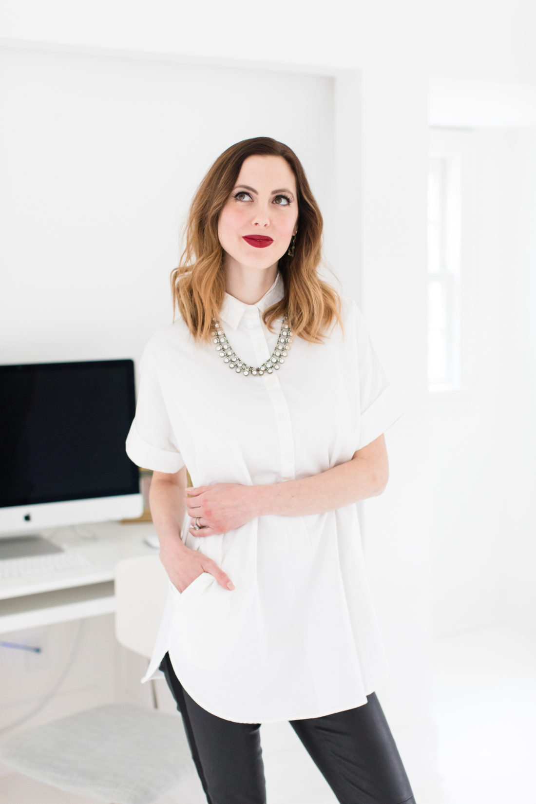 Eva Amurri Martino models a postpartum style guide look in her office in Connecticut