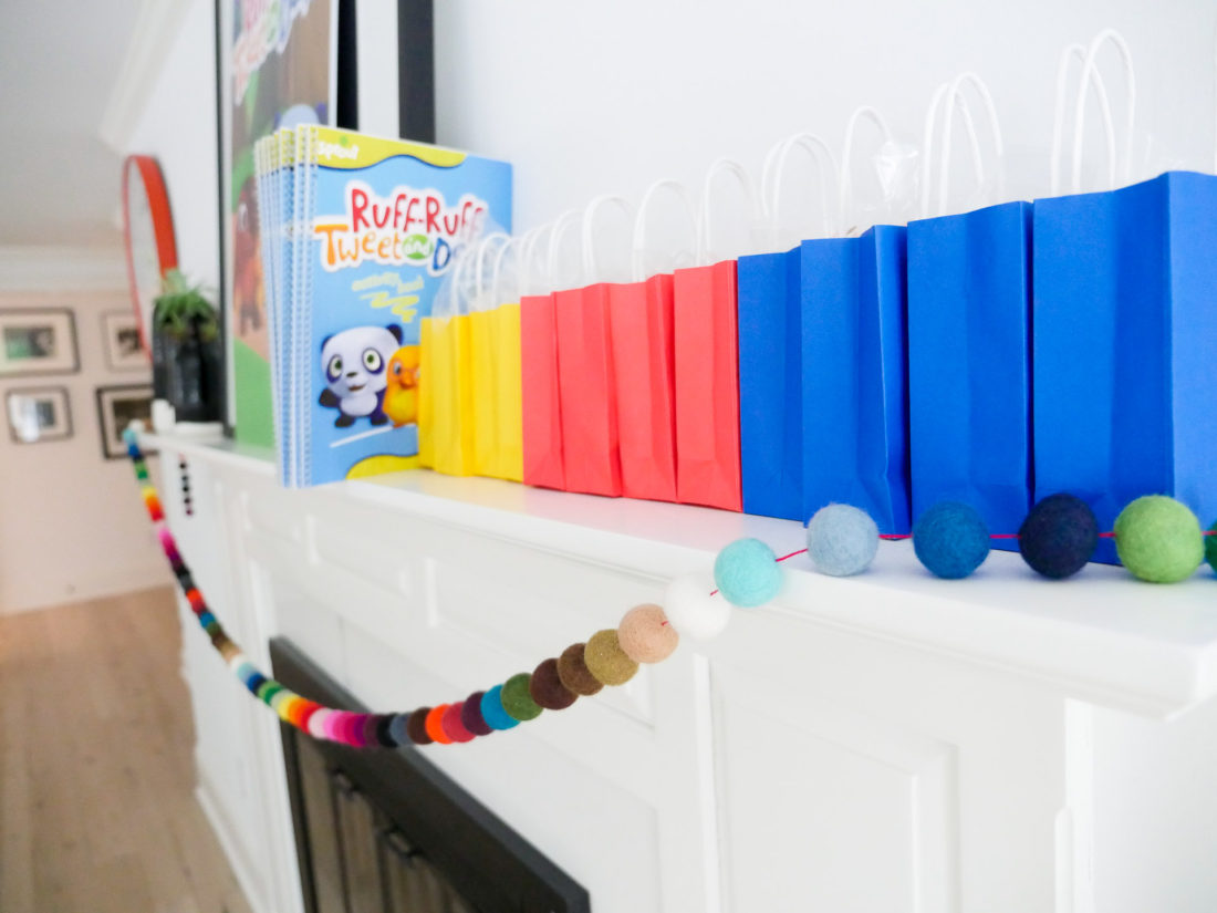 A selection of party favors lined up on the mantle at Eva Amurri Martino's kid party