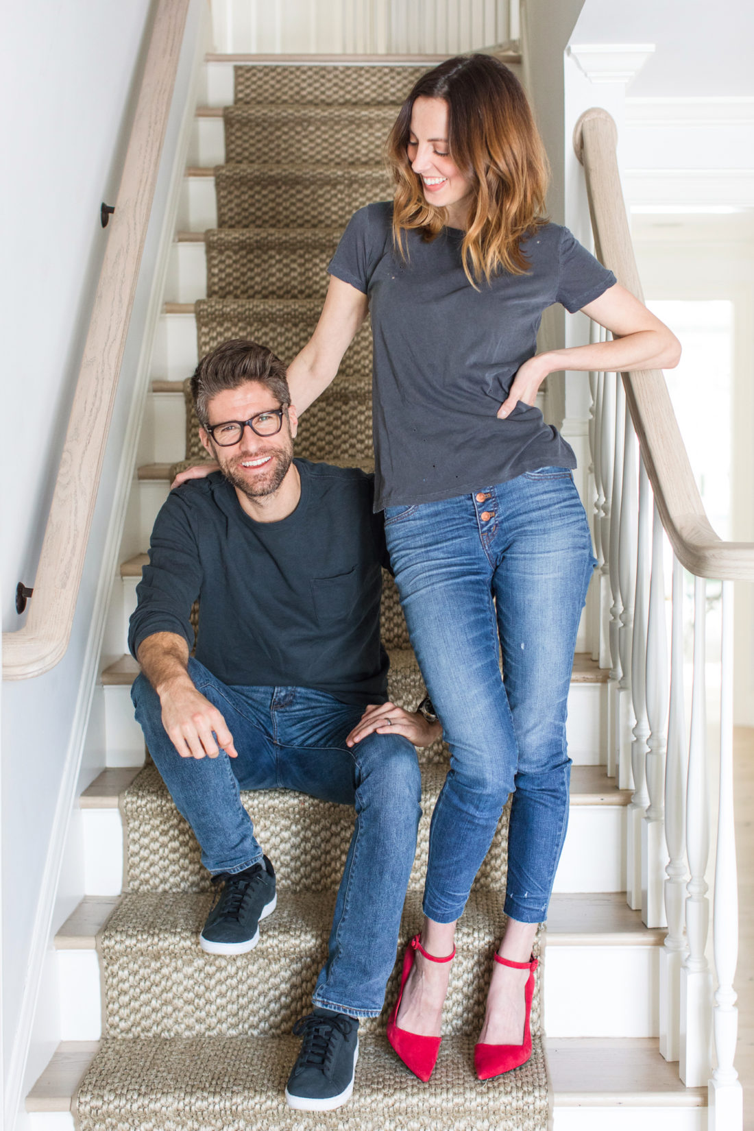 Eva Amurri Martino and Kyle Martino pose together on the stairway of their Connecticut home