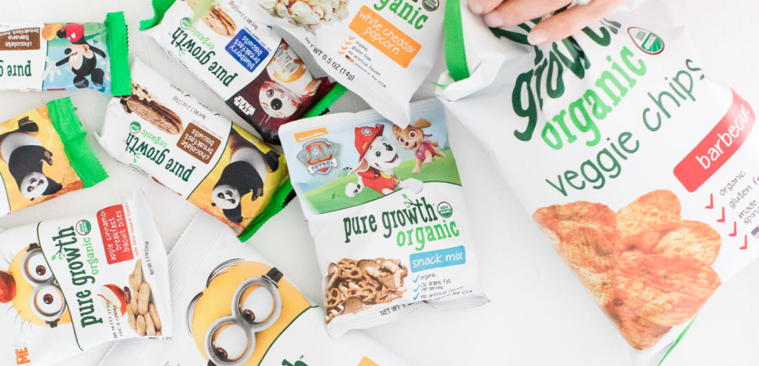 an arrangement of fun and tasty Pure Growth Organic snacks
