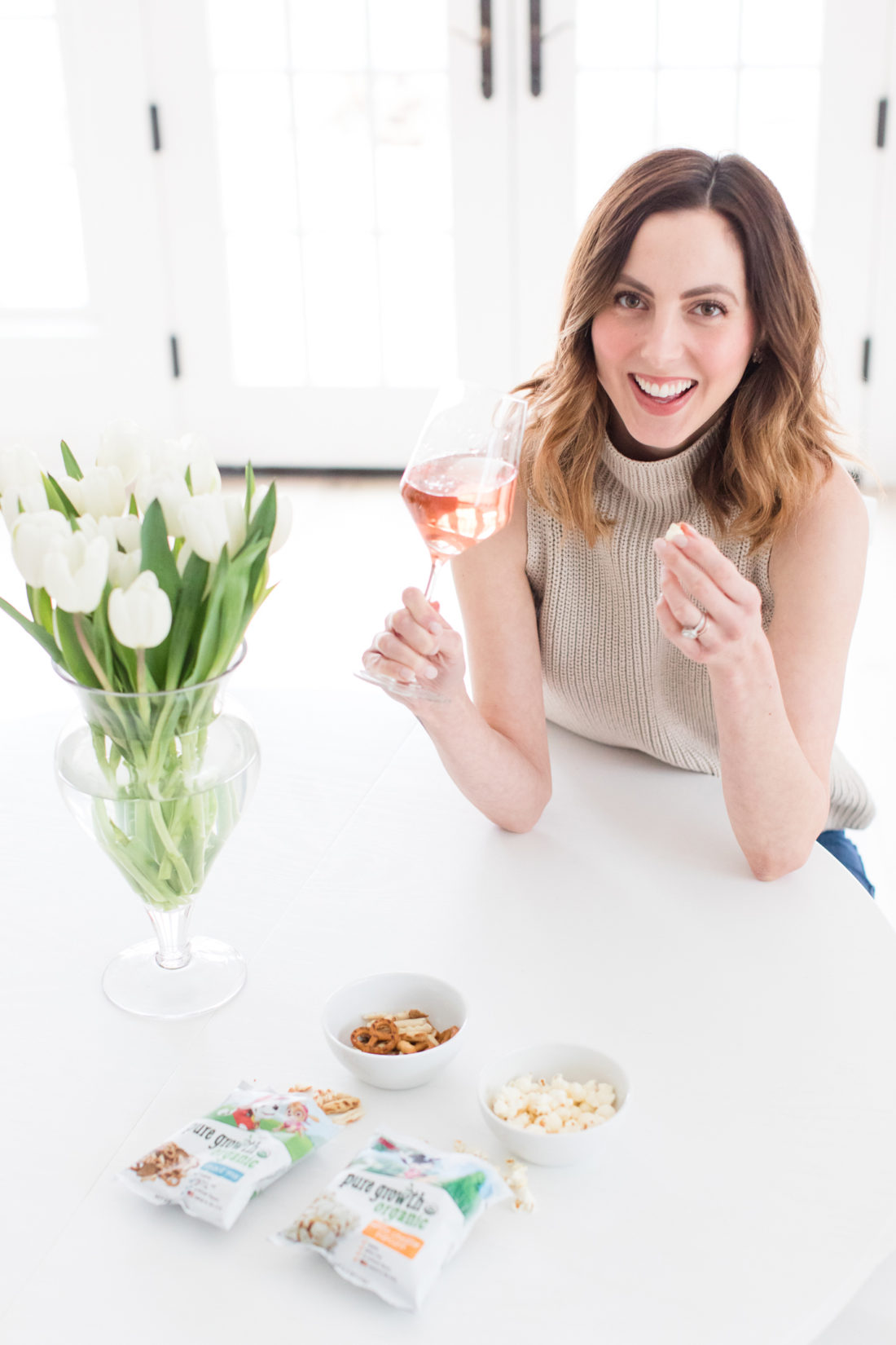 Eva Amurri Martino drinks Rosé and eats organic snacks at her kitchen table in Connecticut