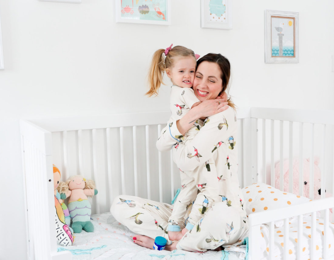 Eva Amurri Martino wears matching pajamas with her daughter Marlowe and hugs her