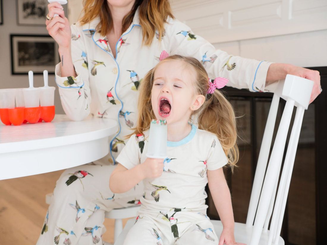 Marlowe Martino eats a popsicle in her pajamas