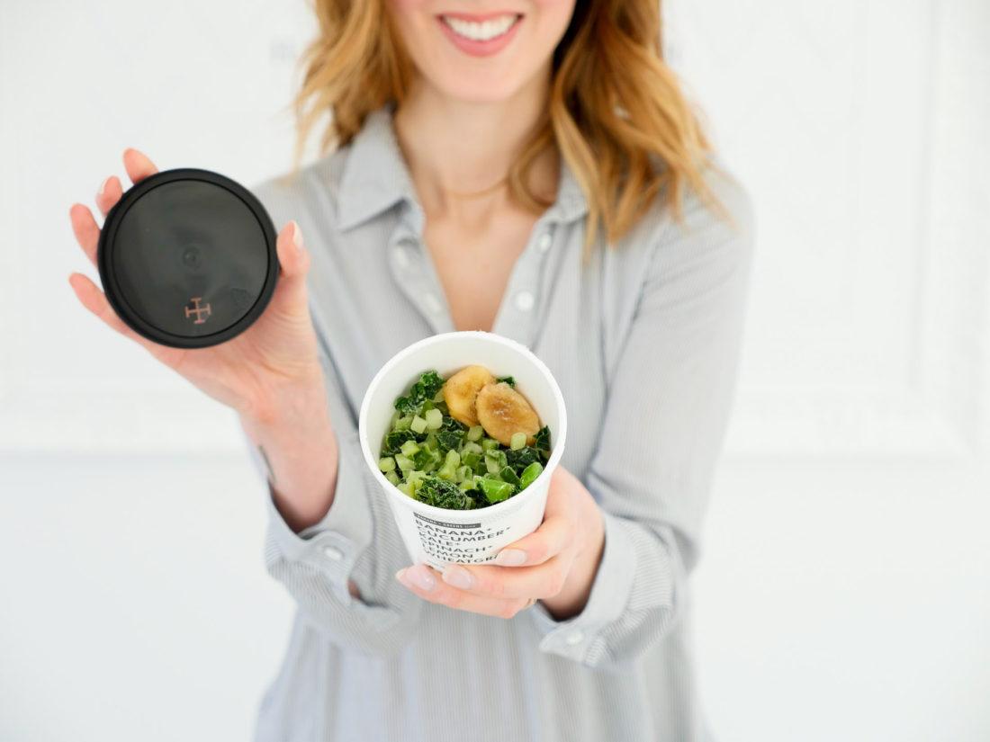 Eva Amurri Martino displays Daily Harvest smoothie ingredients