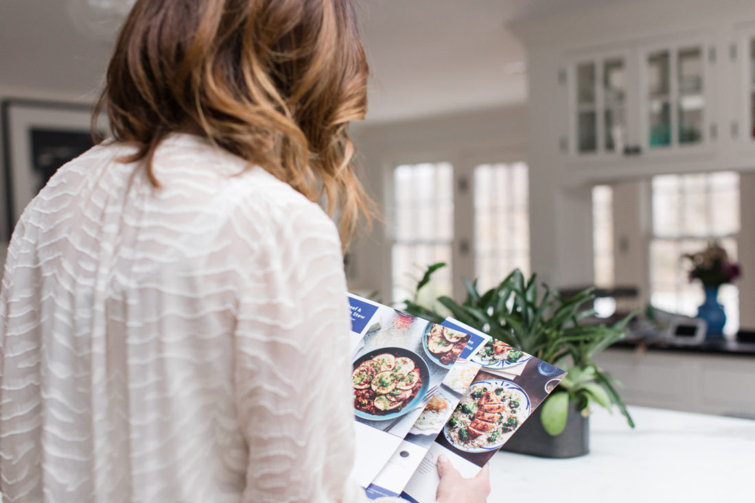 Eva Amurri Martio cooks a Blue Apron meal in the kitchen of her Connecticut home