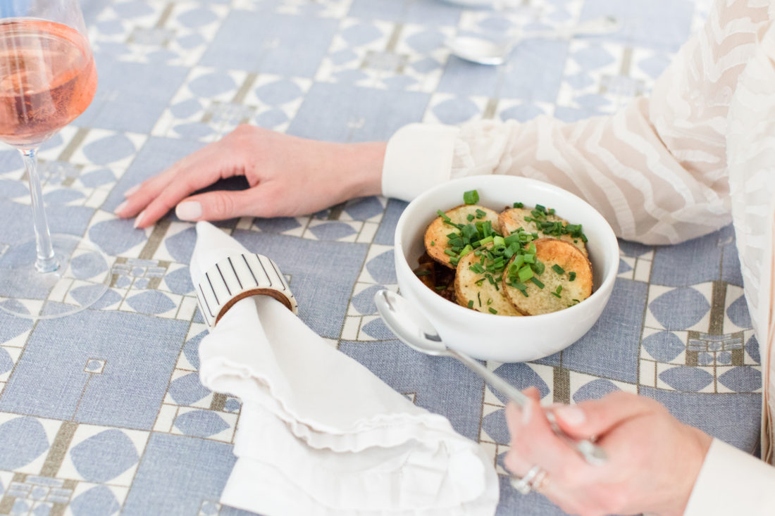 A tasty and savory lamb, beef, and mushroom stew