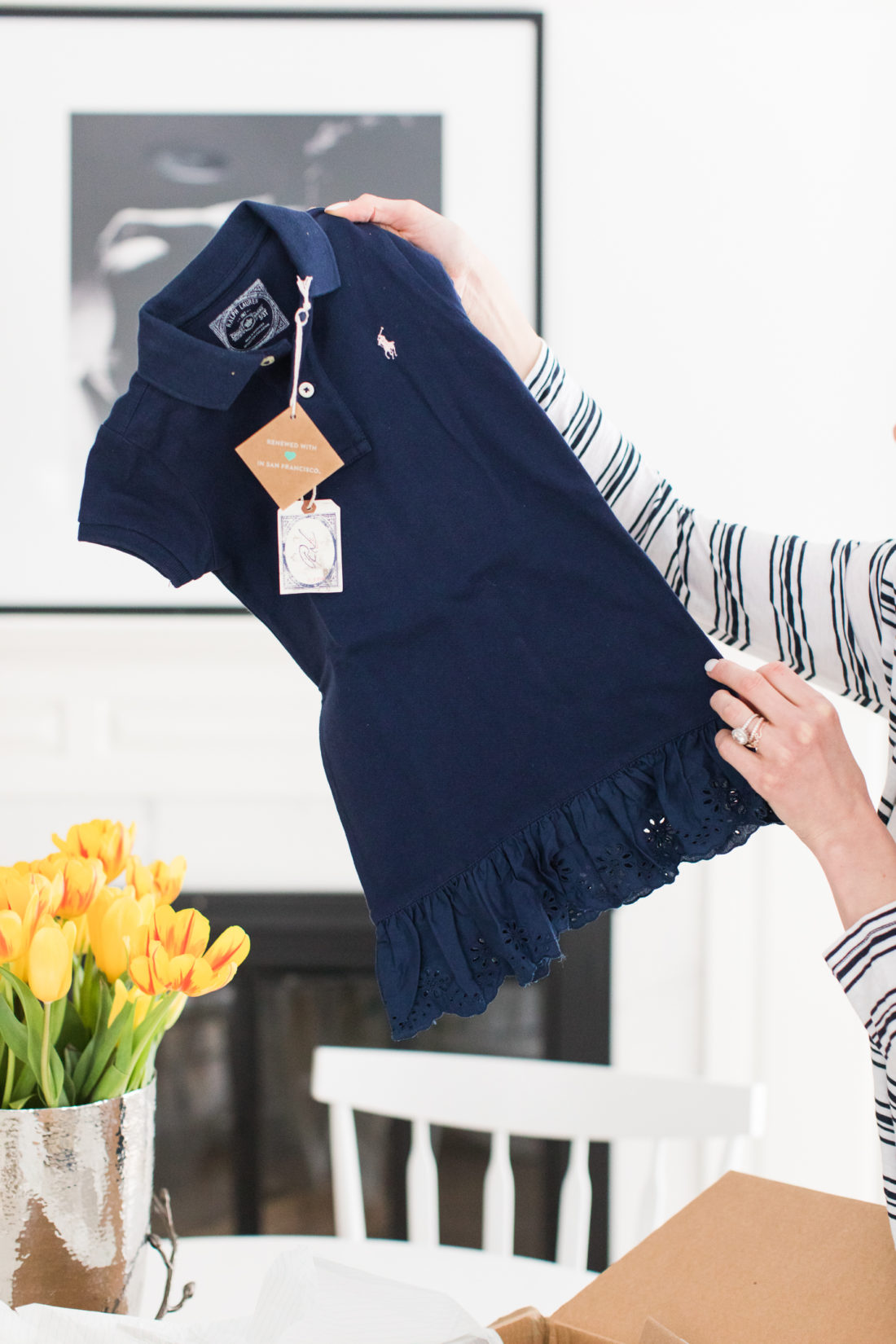 A detail shot of a secondhand navy blue Ralph Lauren Kids dress