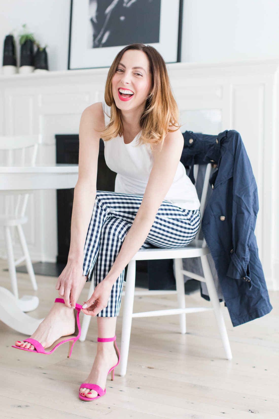 247099fb1bc6b Eva Amurri Martino wears navy and white gingham pants, a white top, and  fastens