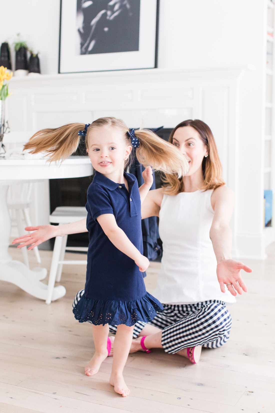 Marlowe Martino twirls in her new secondhand Ralph Lauren dress and pigtails