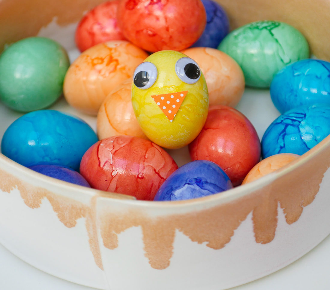 A simple yellow Easter Egg transformed in to a cute chick