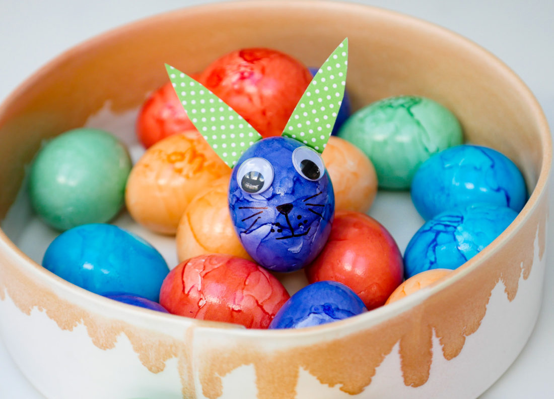 A simple blue Easter egg transformed in to a cute bunny rabbit