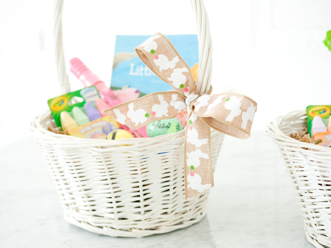 Eva Amurri Martino displays her children's white wicker Easter Baskets and tips for filling them
