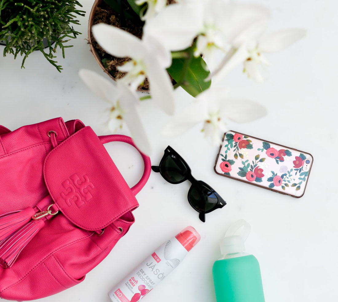 Eva Amurri Martino showcases the products that she uses in her workout bag