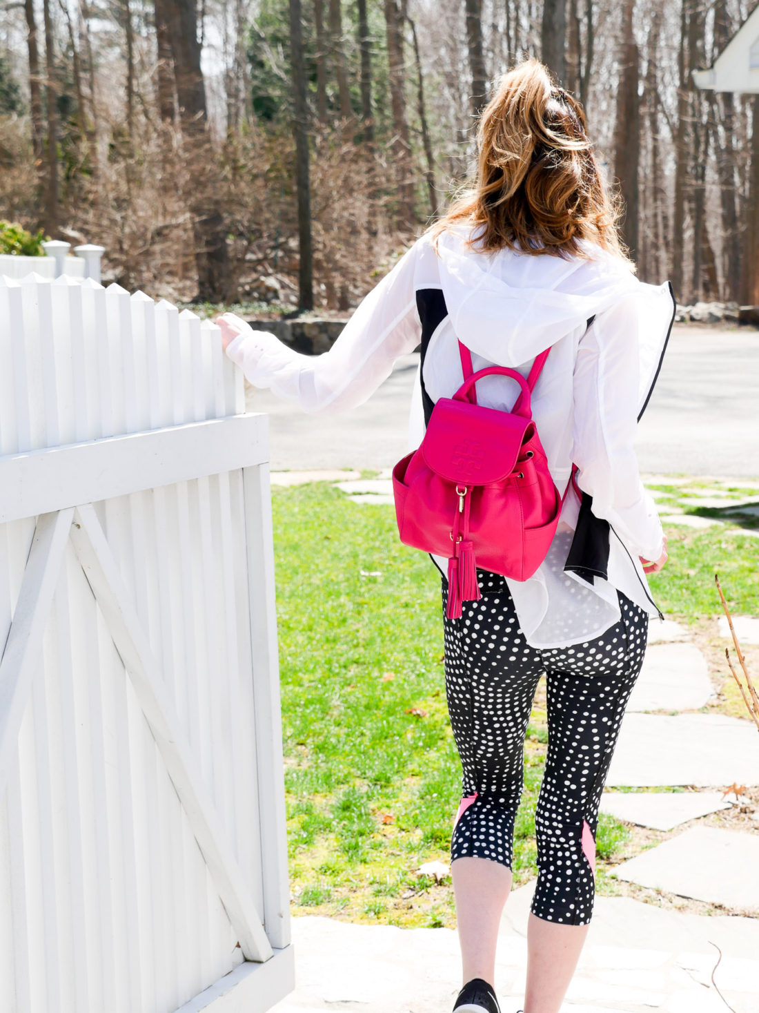 Eva Amurri Martino wears workout gear and a pink Tory Burch backpack and heads off to exercise