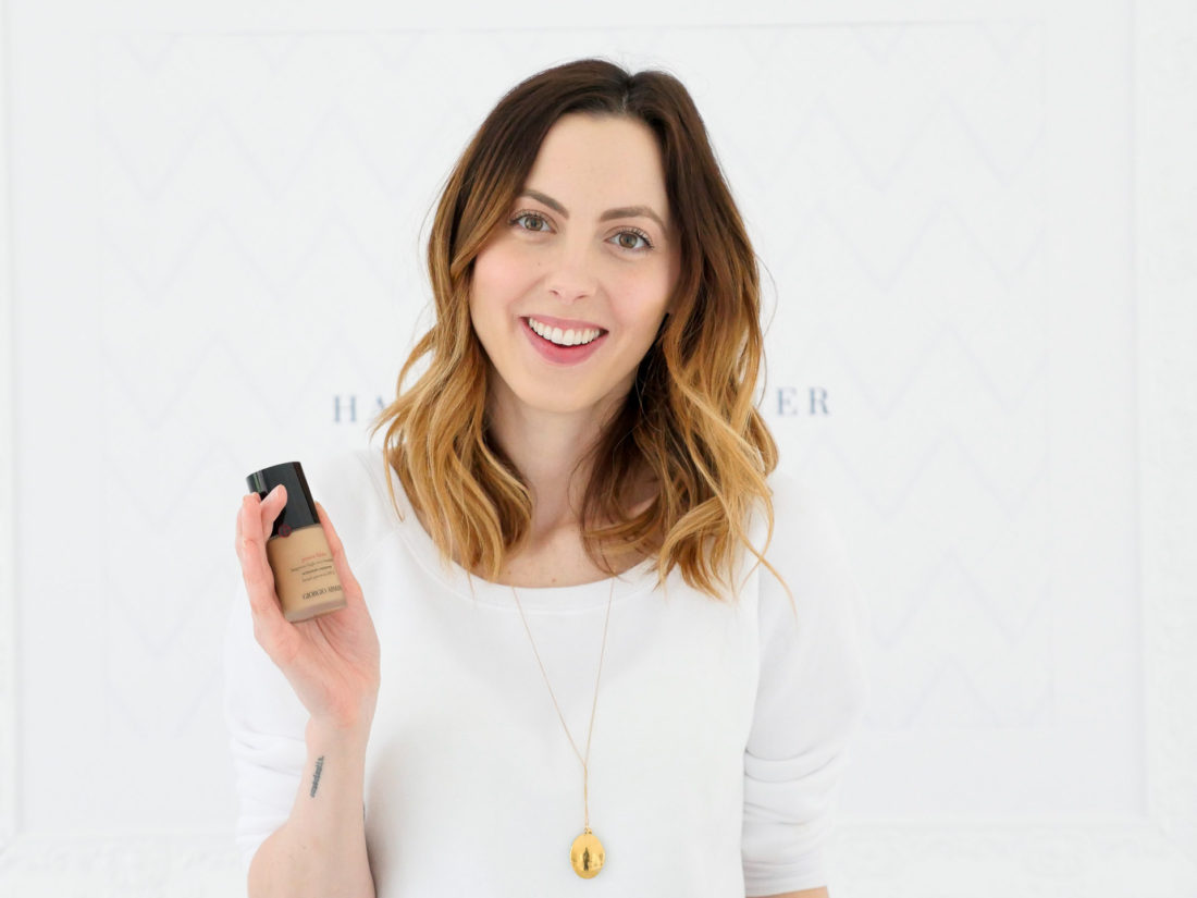 Eva Amurri Martino shows off an Armani Beauty foundation as part of her monthly obsessions roundup