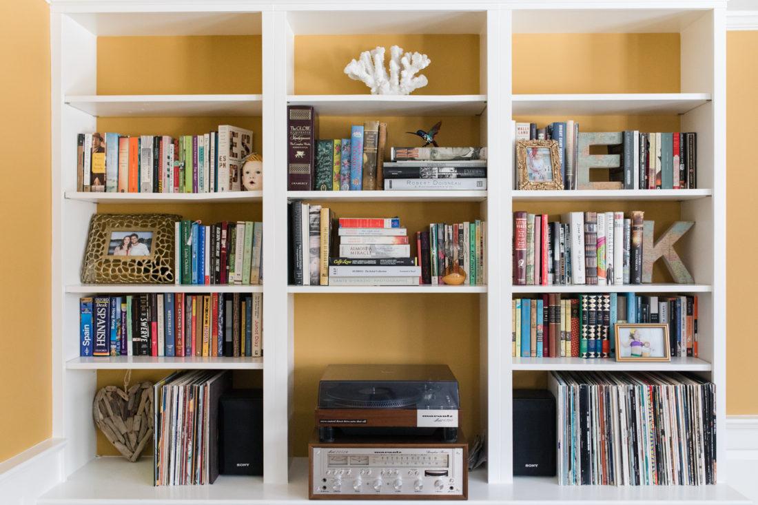 The bookshelf in the formal living room of Eva Amurri Martino's Connecticut home