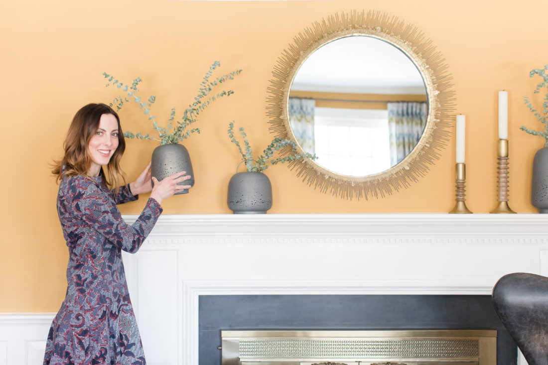 Eva Amurri Martino dresses the mantle of the formal living room in her Connecticut home