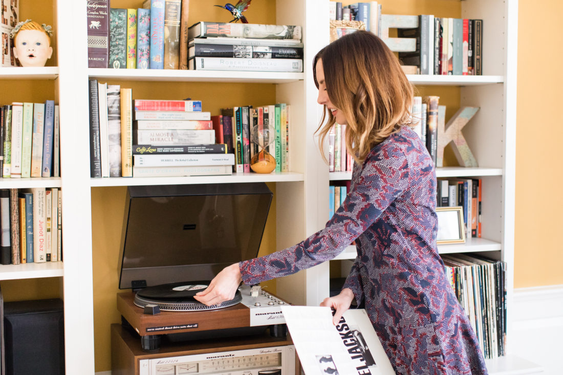 Eva Amurri Martino puts on a record in the living room of her Connecticut home
